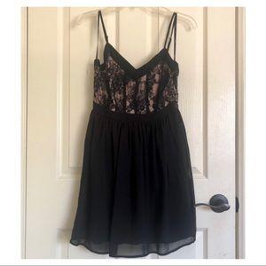 FOREVER 21 Pink & Black Lace Spaghetti Strap Dress